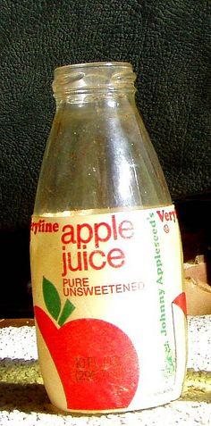 early 1980s Veryfine apple juice bottle w/Johnny Appleseed