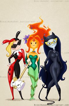 Harley Quinn poison ivy cat woman adventure time Fionna the human marceline flame princess
