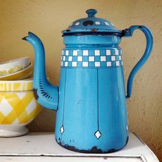 vintage French enamelware coffee pot, blue with white checkers, lustucru pattern