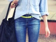 canadian tux with a splash of neon
