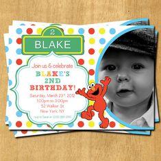 Mod Rainbow Elmo Birthday Invitation Sesame by olivepresspaper, $12.75