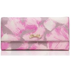 Kate Spade Washington Place Trista ($328) ❤ liked on Polyvore featuring bags, wallets, snap wallet, pink wallet, kate spade, snap closure wallet and kate spade wallet