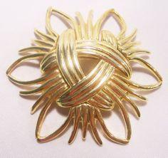 Vintage Kenneth J Lane Pin Brooch Gold Tone by GretelsTreasures, $25.00