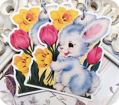 NEW  Retro Baby Bunny with Flowers Tags  by LittlePaperFarmhouse, $5.95