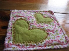 Scrappy costers with two hearts by RachaelsCrazyScraps on Etsy