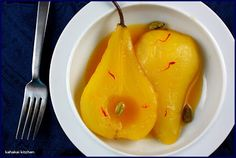 I love the pretty golden hue of these simple Pears Poached in a Saffron Syrup from Madhur Jaffrey. Just five ingredients makes for an elega. Madhur Jaffrey Recipes, Urdu Recipe, Five Ingredients, Recipe Link, Buffet, Fruit, Cooking, Sweet, Food
