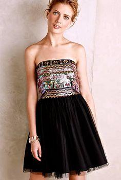 NEW Anthropologie Aidan Mattox black tulle sequin Tereza Tulle Dress 8  #AidanMattox #tulledress #Festive