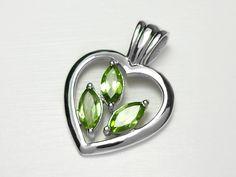 Sterling Silver Heart Peridot Pendant