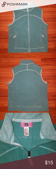 REI Girls Light Teal Sweater Vest *PAIR WITH: Long sleeve shirt, jeans and winter boots! *4 total pockets: 2 zipper outside pockets, 2 pockets on inside: 1 upper left hand side with zipper & 1 bottom right hand side opened at top (see picture) *Smoke-free home  *No Trades please  *Feel free to ask questions AND  *MAKE OFFERS!!!  xoxo  @RandomFindings REI Jackets & Coats Vests