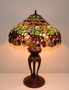 "Emperor Large 20""W Grapes Stained Glass Tiffany Style Jeweled Lamp, Zinc Base"