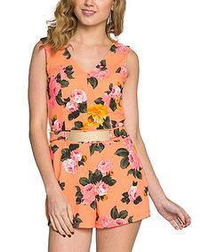 Another great find on #zulily! Coral Floral Cutout Romper #zulilyfinds