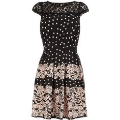 Blush spot lace yoke dress ($29) ❤ liked on Polyvore