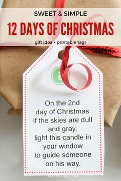 Spread some cheer this holiday season with the simplest and sweetest 12 Days of Christmas gift idea. Each day has a poem to go along with an inexpensive gift. Click through for the gift list and tags.