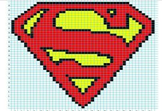 Superman knitting or crochet graph chart for cushion or blanket