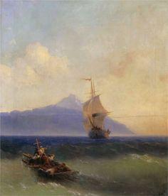 Page: Evening at Sea Artist: Ivan Aivazovsky Style: Romanticism Genre: marina