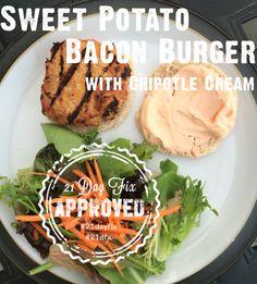 21 Day Fix Sweet Potato Bacon Burger
