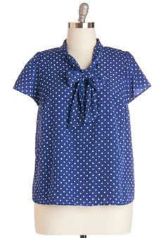 Tie for First Top in Dotted Navy - Plus Size, #ModCloth