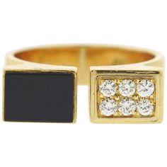 1980s Cartier Diamond Onyx Gold Cuff Ring 1