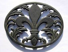 Cast Iron Trivet- Fleur de Lis-Trivet; Fleur de Lis; Home Decor; Fleur de Lis Trivet; Kitchen Accents; Kitchen; Saints