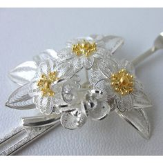Shiga Prefecture Silverwork Hairpin, Cherry Blossom, Large: JCRAFTS.com #japan