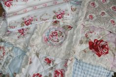Shabby Chic Baby Girl Gift Lovey Rag Quilt Security Blanket and Burp Cloth