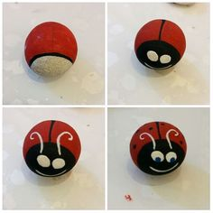 A quick way to paint a ladybug rock!!