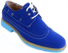 Men's Wing-tip Vegan Suede Rockabilly Casual Dress Blue Oxford Shoes