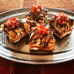 Puff pastry Napoleons filled with marshmallow fluff and strawberries