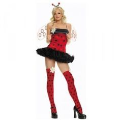 Ladybug Halloween Costume! NEW/UNOPENED Costume package includes a headpiece, wings, petticoat dress, polka dot stockings and the daisy applique. Never opened or worn! Size M/L. Brand is Leg Avenue (lol). Size M/L will fit: bust size 34-38, waist 25-29, hips 36-40, dress size 10-14, cups B-C. Other