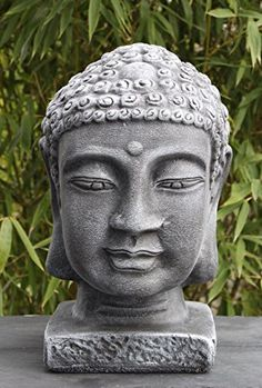 Gartenfigur Buddha Buddhakopf Steinguss Schiefergrau Tiefes Kunsthandwerk…