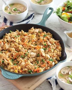 Chicken Fried Brown Rice recipe from Southern Plate. An easy take out inspired meal to make at home. #easy #recipes #friedrice #maindish