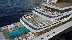 The 360ft superyacht would have two glass-bottom swimming pools which would be…