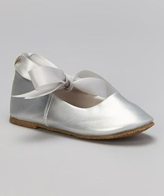 Look what I found on #zulily! Silver Ribbon Leather Flat by Kid's Dream #zulilyfinds