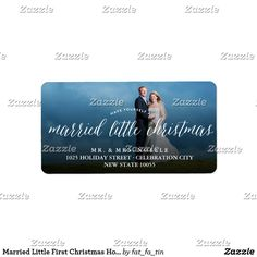 Married Little First Christmas Holiday Photo Label Designed by fat*fa*tin. Easy to customize with your own text, photo or image.