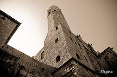 Torre defensiva i muralla romana de Barcelona al carrer Tapineria i Plaça Ramon Berenguer.