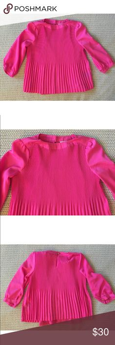 Baker by Ted Baker Magenta Blouse S (6/7) New. Hot pink blouse  Crew neck  Long sleeves Pleated detail  Lined  65% polyester & 35% rayon  S (6-7)  Measured across: Shoulder to shoulder 10.5in (26.5cm) Armpit to armpit 14in (35.5cm) Waist 14.5in (37cm) Sleeve length 13.5in (34cm) Length 18in (45.5cm) Baker by Ted Baker Shirts & Tops Blouses