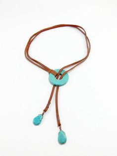 Items similar to Turquoise Lariat Necklace - Brown Leather Lariat on Etsy Lariat Necklace, Leather Necklace, Leather Jewelry, Beaded Jewelry, Handmade Jewelry, Collar Necklace, Crystal Jewelry, Silver Jewelry, Unique Necklaces