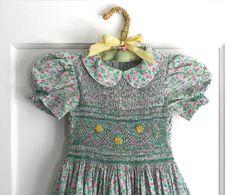 Vintage Homemade Hand Smocked Little Girls Dress Heirloom Calico by rumplebin on Etsy