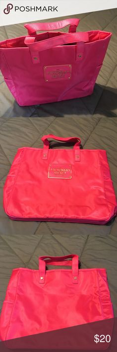 Victoria Secret Pink Tote This VS Pink tote is brand new and never been used. Has pockets on the side. Great for work or weekends, even beach trips! PINK Victoria's Secret Bags Totes