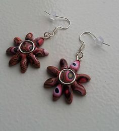 Polymer clay earrings KatikaZ / retro-kvet http://www.sashe.sk/KatikaZ http://www.fler.cz/katikaz https://www.facebook.com/pages/Katika-Handmade-jewelry/611752618918894?ref=hl