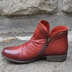 Low Heel Boots, Low Heels, Heeled Boots, Leather Ankle Boots, Leather Heels, Pu Leather, Top Fitness, Punk Boots, Style Casual