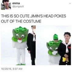 Let me just tell you that Jimin's head poking out of that costume is my favorite thing in the entire world. Lettuce Jimin is my favorite concept, no joke.