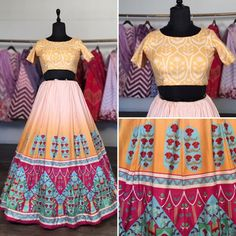 Yellow vaishali silk digital printed lehenga choli