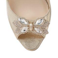 Vintage Butterfly Art Deco Jewel Gold High Heel Court Shoes UK7 Jenny Packham