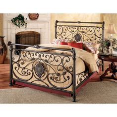 iron beds antique headboards | Mercer Iron Bed in Antique Brown Finish by Hillsdale