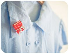 Tiny red book brooch - Polka dot - back to school. $19.00, via Etsy.