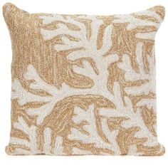 Liora Manne Coral Throw Pillow ($57) ❤ liked on Polyvore featuring home, home decor, throw pillows, ivory throw pillows, indoor outdoor throw pillows, coral accent pillows, sea home decor and coral home accessories