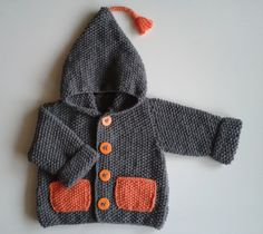 Hooded vest for baby from birth to months hand-knitted grey of the shop mariontricote on etsy Baby Cardigan Knitting Pattern, Baby Knitting, Love Crochet, Crochet Baby, Big Knit Blanket, Pull Bebe, Big Knits, Trendy Baby Clothes, Baby Sweaters