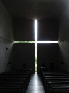 Church of Light (Tadao Ando). I know I've pinned this one before. But it's amazing. Especially the play of light on the walls and the optical illusion that it creates. The walls are not angled at all.