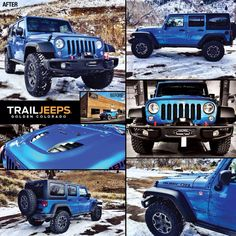 """This 2015 Hydro Blue Hard Rock Edition Jeep build includes: AEV 2.5"""" lift, 35"""" Nitto Tire Trail Grapplers, WARN CTI-S Winch, Revolution Gear & Axle 4.56 Gears and EVOMFG Sleeve & Gussets.   #trailjeeps #offroad #fourwheeling #4x4 #jkwrangler #rockcrawling #jeep #itsajeepthing #myjeepbuild #builtjeeps  www.trailjeeps.com"""